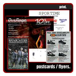 Outrage Motorsports, SporTime, Easton, postcards, flyers, print