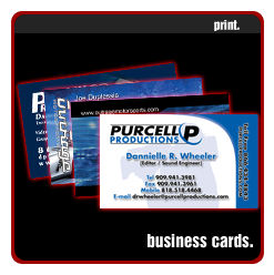 purcell productions, outrage motorsports,business cards printed